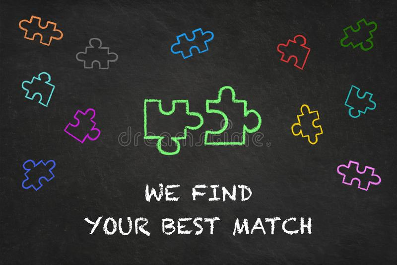 '我们发现您的与难题片断的最佳的比赛'文本在黑板 向量例证