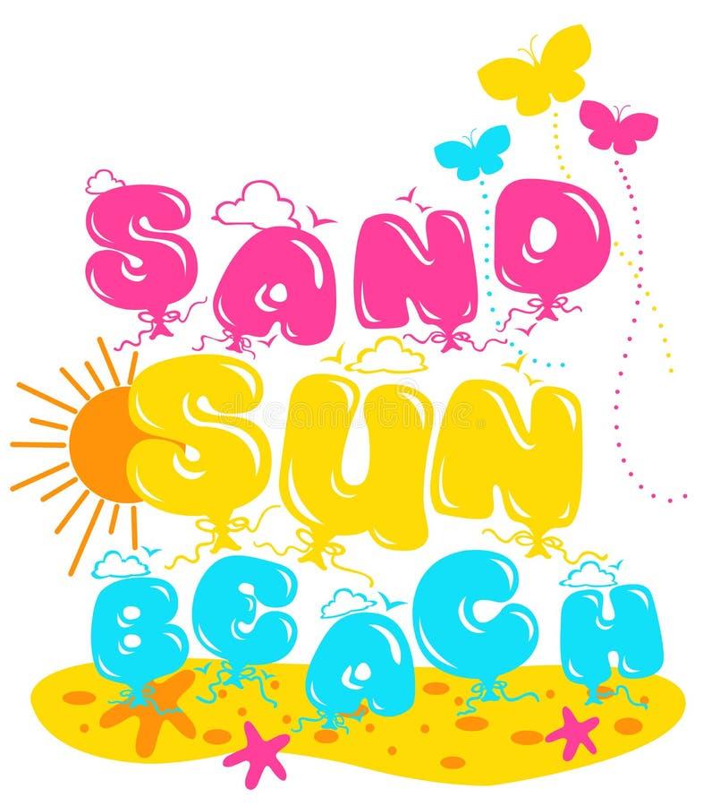 '沙子,太阳,海滩'书面样式,孩子的图表 皇族释放例证