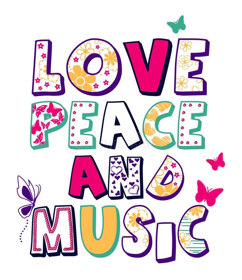'爱、和平和音乐'样式,孩子T恤杉印刷品 向量例证