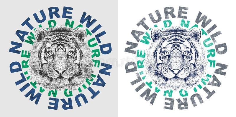 '自然狂放的'印刷术,T恤杉印刷品 向量例证