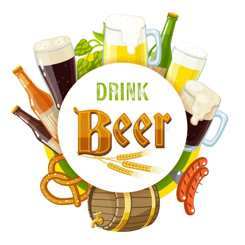 '饮料啤酒'标签用淡和黑啤酒、杯子、瓶、啤酒花球果树、大麦、啤酒小桶、椒盐脆饼和香肠 向量例证