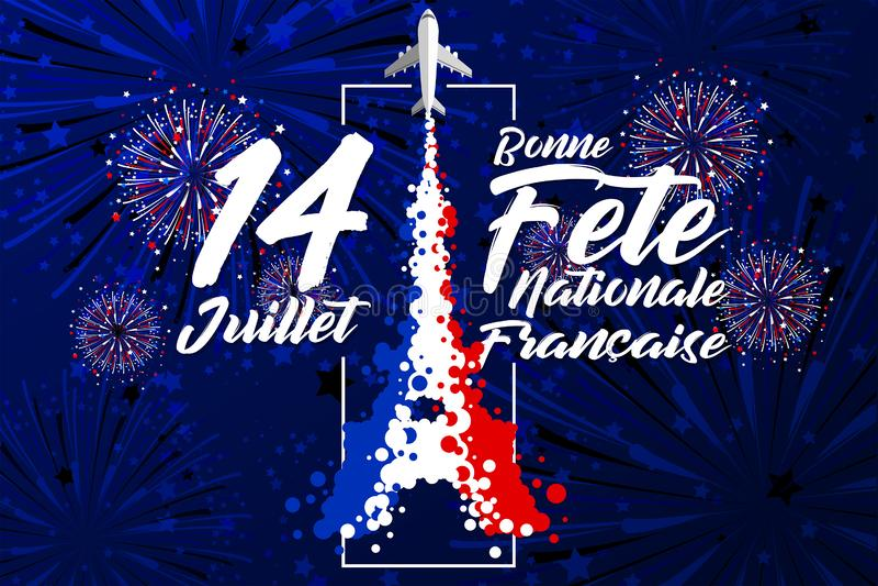 '14 Juillet - Bonne Fête Nationale Français的是词为庆祝法国巴士底日在7月14日 皇族释放例证