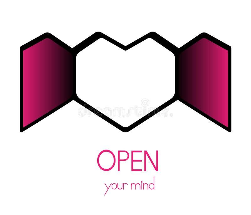 'Amor del diseño abriendo la ventana del corazón con el mensaje 'abierto su mente 'en un estilo plano del vector ` ilustración del vector