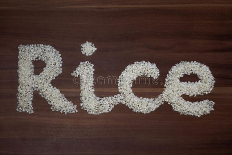 'Arroz escrito com arroz fotografia de stock