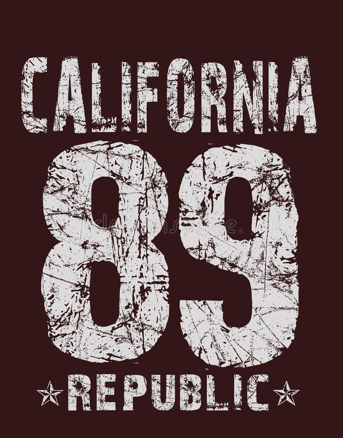 'Califórnia, 89, tipografia da república ', impressão do t-shirt ilustração do vetor