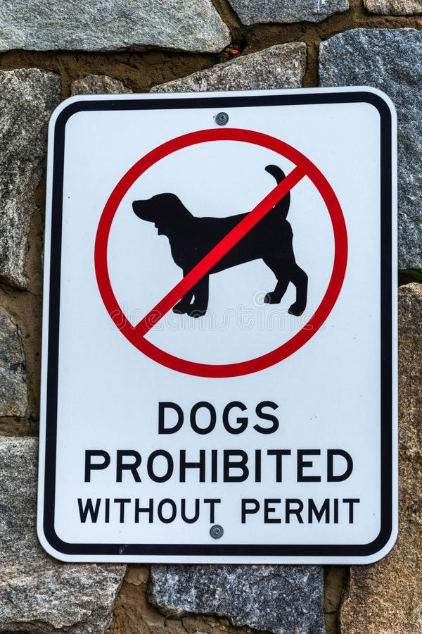 'Dogs Prohibited Without Permit' sign. In Mt Buller, Victoria, Australia stock photos