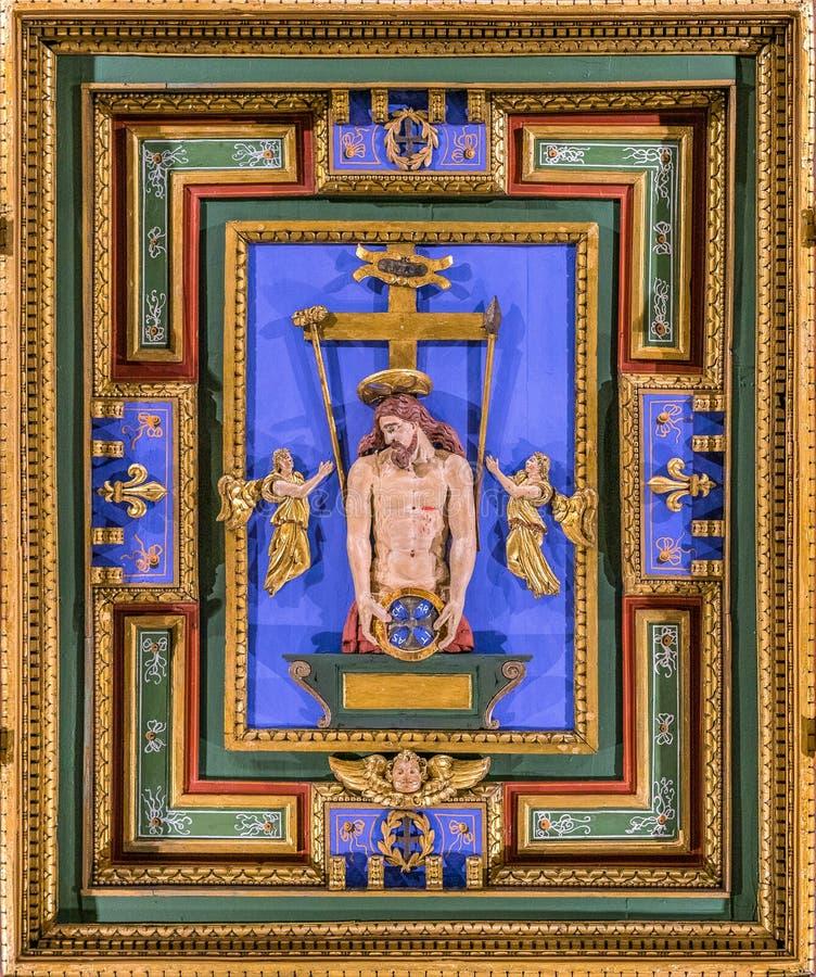'Ecce Homo 'el panel tallado en la iglesia del della Carità de San Girolamo en Roma, Italia fotos de archivo libres de regalías