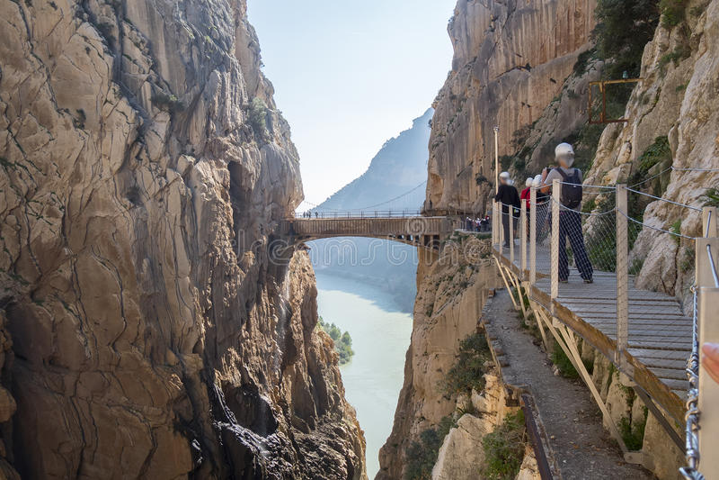 'El Caminito del Rey' (Little Path)国王的,世界的多数危险 免版税库存照片