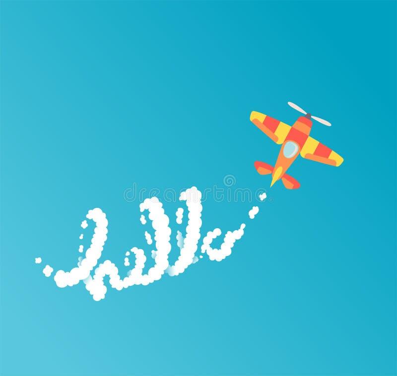 'Hola 'letras El aeroplano plano de la historieta del estilo escribe frase con las nubes en el cielo ilustración del vector