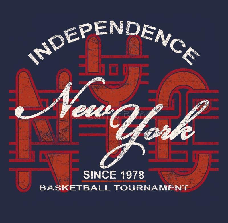 'INDEPENDENCIA, tipografía de NUEVA YORK ', impresión de la camiseta stock de ilustración