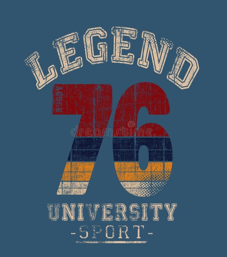 'legenda 76' tipografia, gráficos ostentando do t-shirt ilustração stock