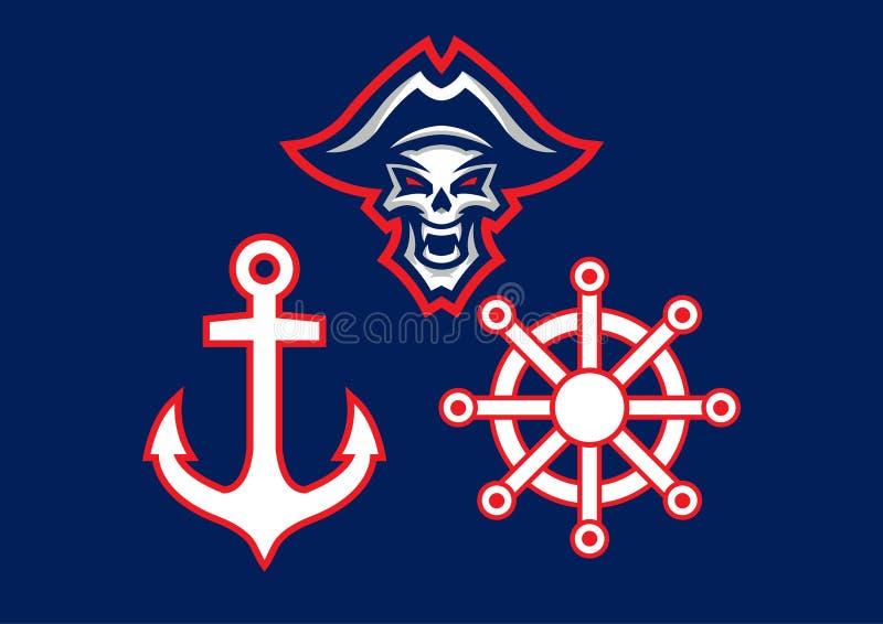 'Logotipo da mascote do pirata inoperante ' Eps 10 ilustração do vetor