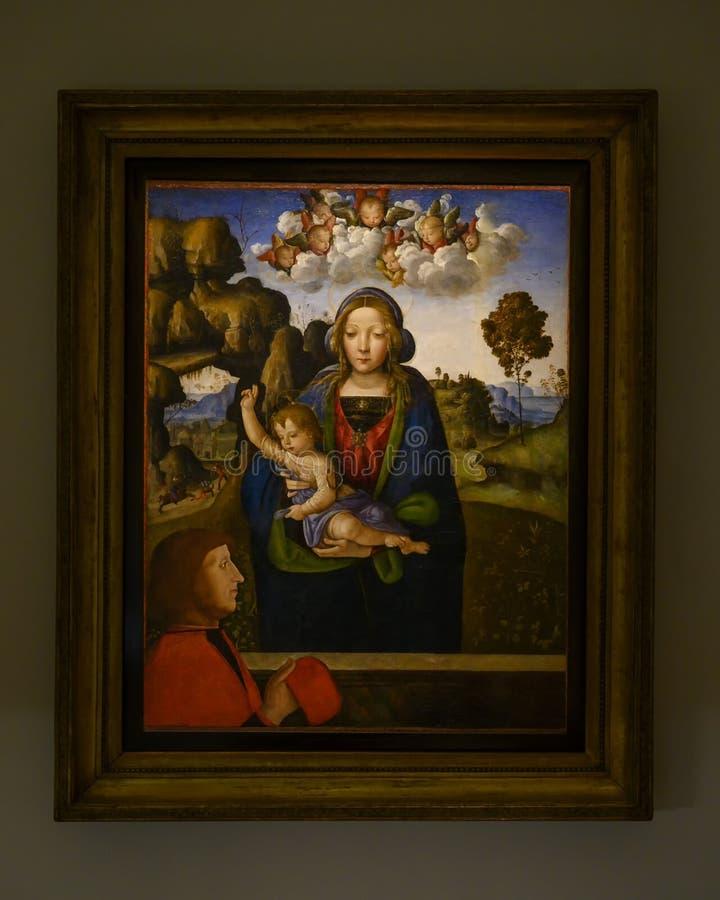 'Madonna e a criança com um Worshipper 'no Pinacota Ambrosiana, a galeria de arte Ambrosian em Milão, Itália fotos de stock