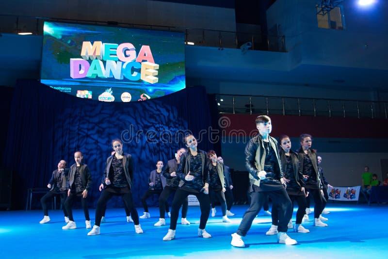 'MegaDance'在芭蕾舞蹈艺术, 2015年11月28日的儿童的竞争在米斯克,白俄罗斯 库存照片