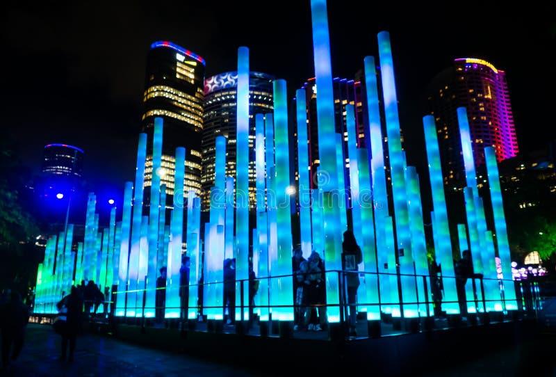 'O campo de jogos eletrônico 'um festival de iluminação exterior anual com as instalações e projeções claras immersive 'Sydney ví fotos de stock royalty free