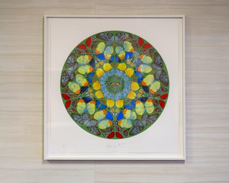'Palm Print: Usque quo domine' do artista britânico Damien Hirst em exposição pública no Hospital Universitário Clements em Dalla fotos de stock royalty free