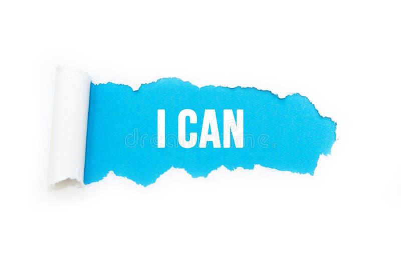 'Puedo 'en un fondo azul, aislado en blanco stock de ilustración