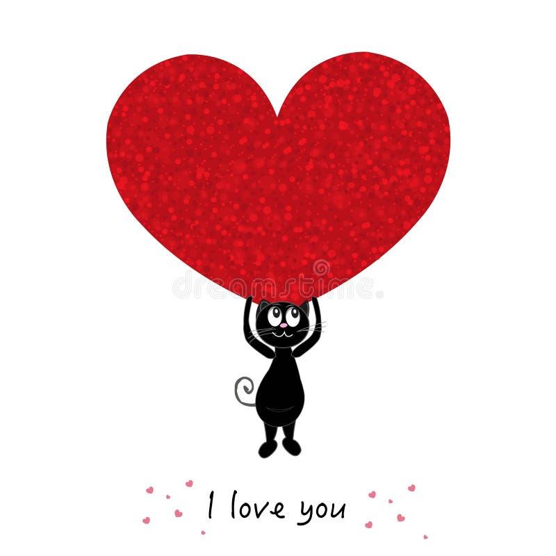 'Te amo 'texto con los gatos negros lindos que llevan a cabo el corazón rojo brillante Tarjeta de felicitación feliz del día del  ilustración del vector