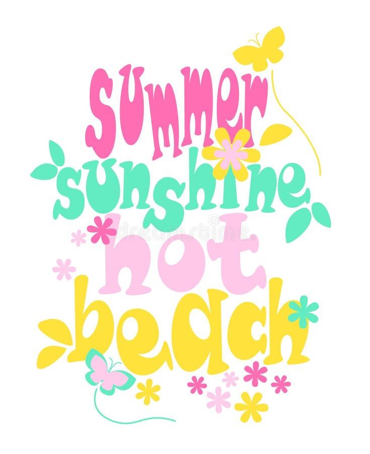 'verão, luz do sol, quente, tipografia da praia ', cópia do t-shirt das crianças ilustração royalty free