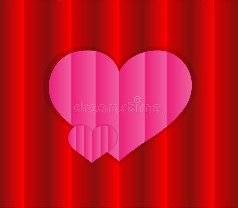 'Vetor do amor do projeto com rosa e texturas vermelhas Coração cor-de-rosa com uma superfície em um fundo de superfície vermelho ilustração stock