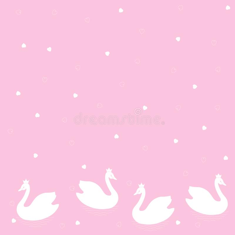 'ÑŒSwans du ‡ Ð°Ñ de ПÐ?Ñ Modèle sans couture de frontière de vecteur des oiseaux blancs de bandes dessinées sur un fond coloré illustration libre de droits
