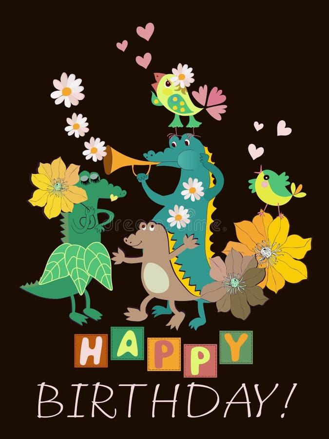 'Alles Gute zum Geburtstag! 'Grußkarte mit lustiger Krokodilfamilie, kleinen Vögeln, Trompete und Blumen auf schwarzem Hintergrun stock abbildung