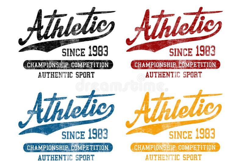 'Athletisch seit 1983 ', 'Meisterschaftswettbewerb ', Muster 'des authentischen Sports ' lizenzfreie abbildung