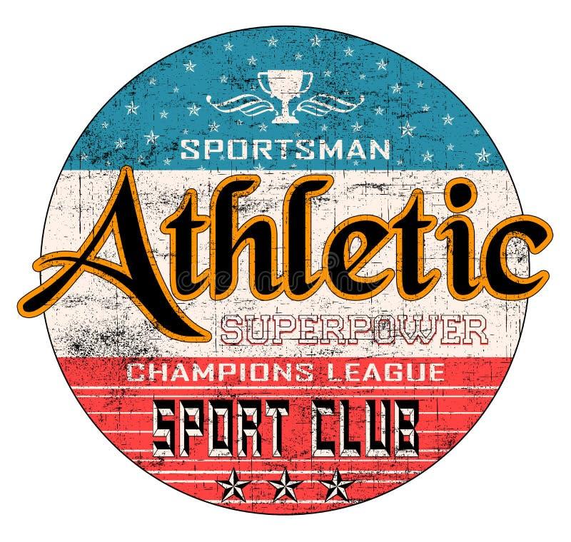 'Athletisch, Sportler, Sportverein'Typografie, T-Shirt Druck lizenzfreie abbildung