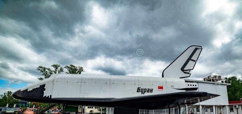 'Buran '— Orbiter-Raum Shuttle des sowjetischen wiederverwendbaren Raumverkehrssystems stockfotografie