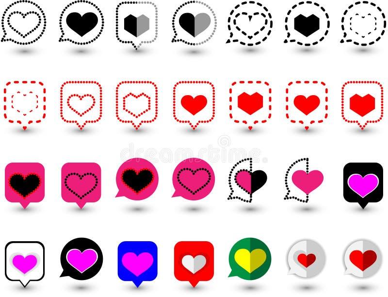 'De bellenpictogrammen van de ontwerptoespraak met diverse liefdesymbolen in de vorm van vectoren Geschikt om de grafische werken vector illustratie