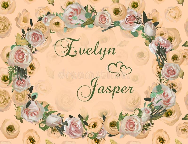 'Dekorativer goldener ovaler Rahmen und Hintergrund mit rosa rosafarbenen Blumen, Eustomacreme, brunia, grüner Farn, Eukalyptu vektor abbildung
