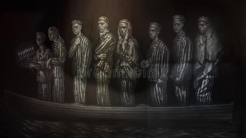 'Die het Rivierlevensonderhoud door Geoffrey Laurence, in het Museum van Bijbelse Kunst in Dallas, Texas wordt getoond dat royalty-vrije stock afbeeldingen