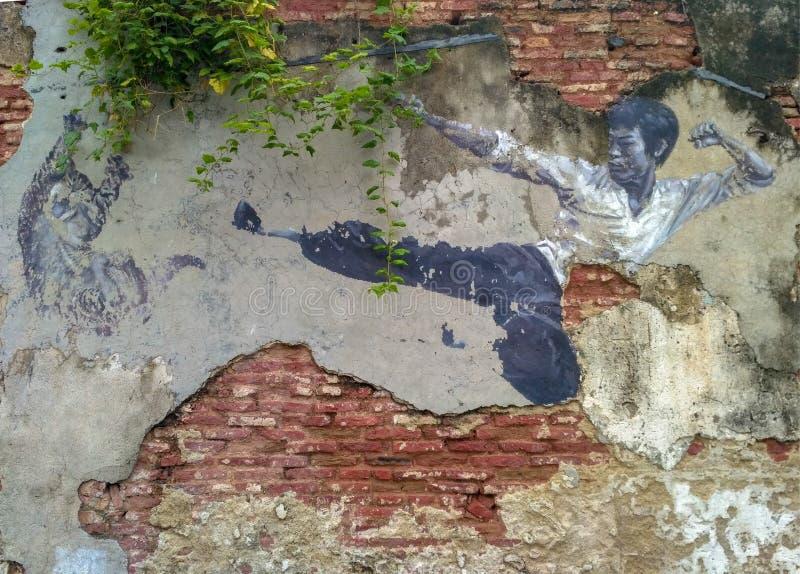 'Die wirklichen des Bruce Lee Would Never Do This Straßenkunst auf Wand durch Künstler für Streutiere in George Town, Penang, Mal lizenzfreie stockfotos