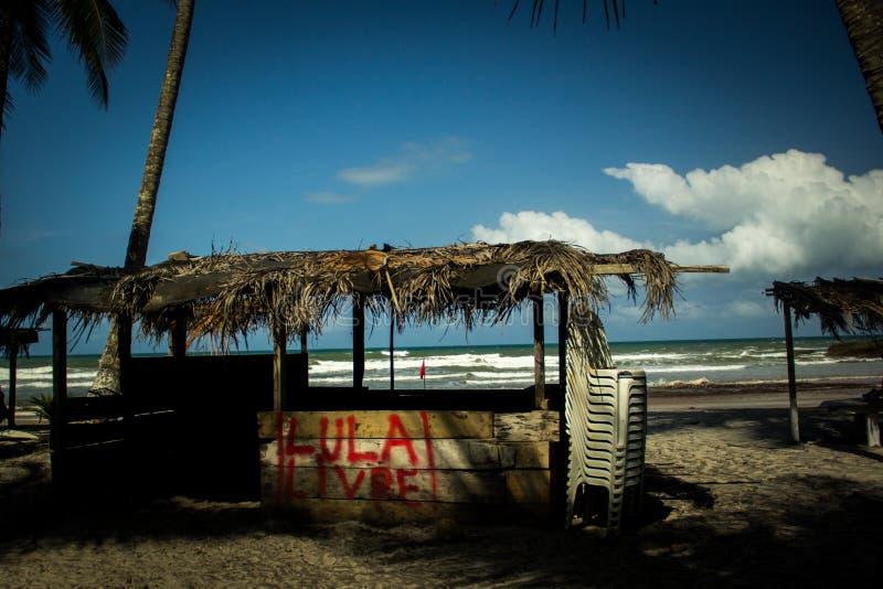 'Freier Lula '- Graffiti bitten um Freiheit zum ehemaligen Präsidenten der Arbeiterpartei lizenzfreie stockfotografie
