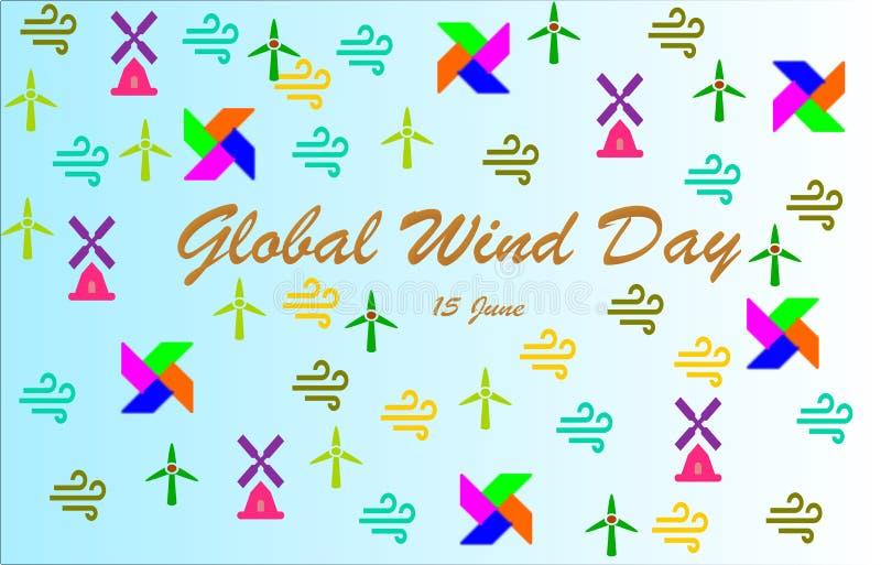 'Globaler Wind-Tag ', der mit bunten Windmühlen, Windikonen, Feuerräder beschriftet stock abbildung