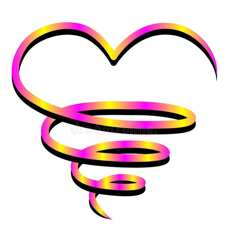'Grote hartpictogrammen, kleurrijk, hand-drawn op een witte achtergrond Het embleem van de overzichtsliefde Liefdesymbool voor de royalty-vrije illustratie