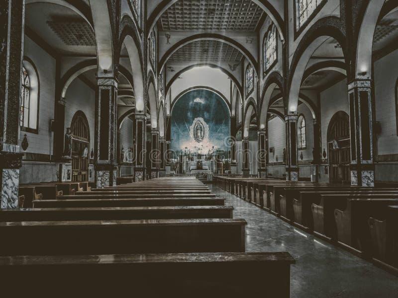 'Guadalupe Cathedral 'op de binnenkant, in Hidalgo del Parral royalty-vrije stock afbeelding