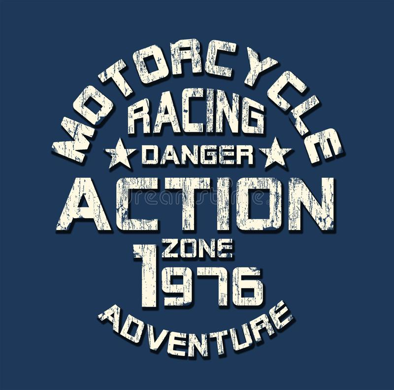 'Motorrad, Typografie laufend ', zur Schau tragende T-Shirt Grafiken lizenzfreie abbildung