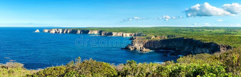 'pointe De-La großes vigie 'Klippen, Panoramablick, Guadeloupe, lizenzfreies stockbild