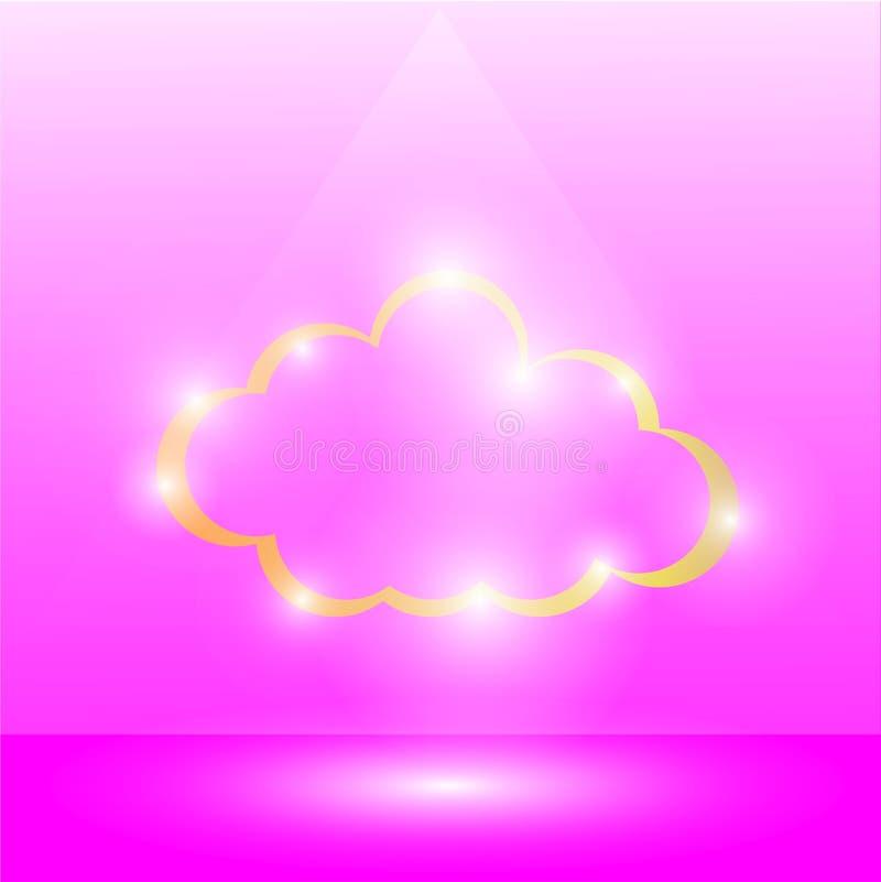 'vorm van het gouden wolk en het gloeien licht rond op een roze achtergrond, Schijnwerperlicht die op de wolk, Licht glanzen die  royalty-vrije illustratie