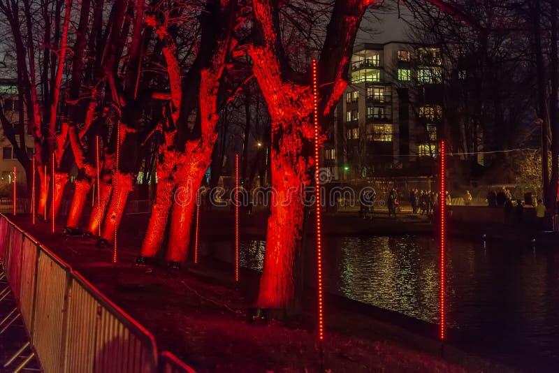 'Wald der Installation der Empfindungen während des Festivals des Lichtes 'Staro Riga stockfotografie