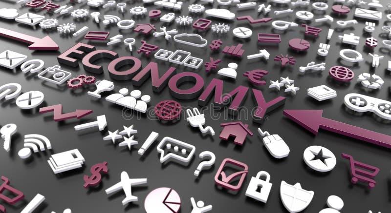'Wirtschafts'Wort mit Ikonen 3d stock abbildung