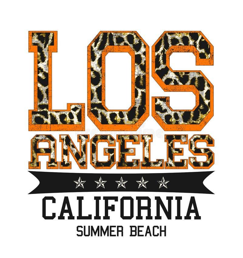 """""""Λος Άντζελες, Καλιφόρνια, τυπογραφία θερινών παραλιών """", εκτύπωση πουκάμισων γραμμάτων Τ στοκ εικόνες με δικαίωμα ελεύθερης χρήσης"""