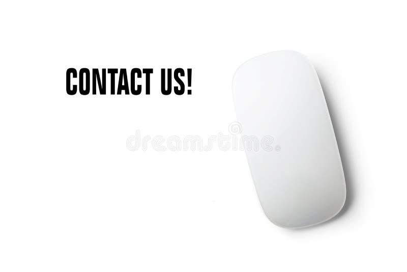 """""""Μας ελάτε σε επαφή με κείμενο με το ποντίκι και ένα άσπρο υπόβαθρο στοκ εικόνες"""