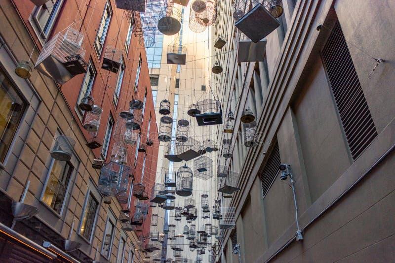 """""""Ξεχασμένη εγκατάσταση τέχνης των τραγουδιών των κενών κλουβιών πουλ στοκ φωτογραφία"""