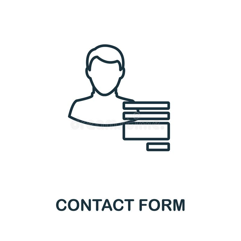 """""""联系人表单大纲""""图标 客户服务图标集合中的细线概念元素 用于移动设备的创意联系人表单图标 库存例证"""