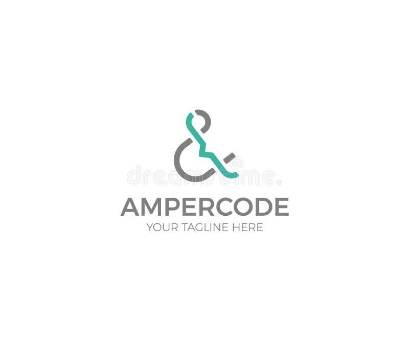 """""""&""""号和代码商标模板 信件传染媒介设计 库存例证"""
