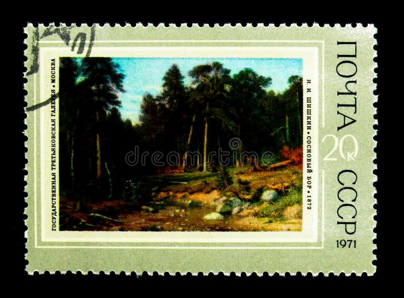 "\ ""bosque del pino \"" 1872, I I Shishkin (1832-1898), cooperativo para A imagenes de archivo"