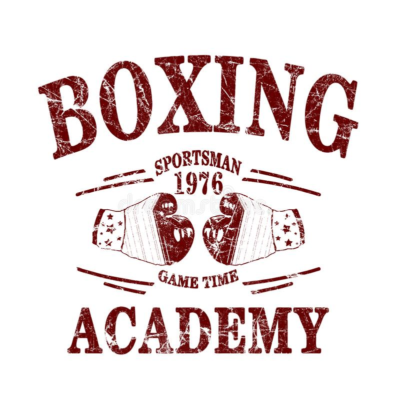 """""""boxe, sportif, temps de jeu, typographie d'académie """", impression de tee-shirt illustration stock"""