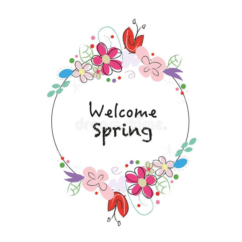 """""""Corona di stile della lavagna del testo della molla benvenuta """"con i fiori astratti della molla illustrazione di stock"""